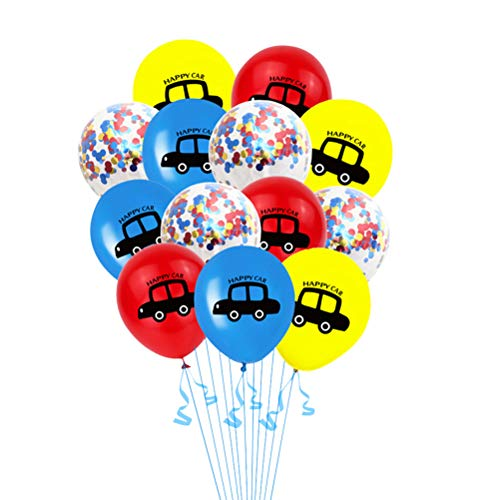Toyvian 13 stücke Auto Druck Konfetti Luftballons Glitter Party Luftballons für Baby Geburtstag Festivals Party Dekorationen
