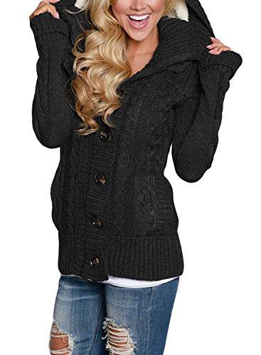 FIYOTE Strickjacken Lose mit Tasche Strickmantel mit Kapuze Winter Sweater Warm Strickwaren Langarm Strickcardigan 7 Farbe S/M/L/XL/XXL, Schwarz, X-Large(EU48-EU50)