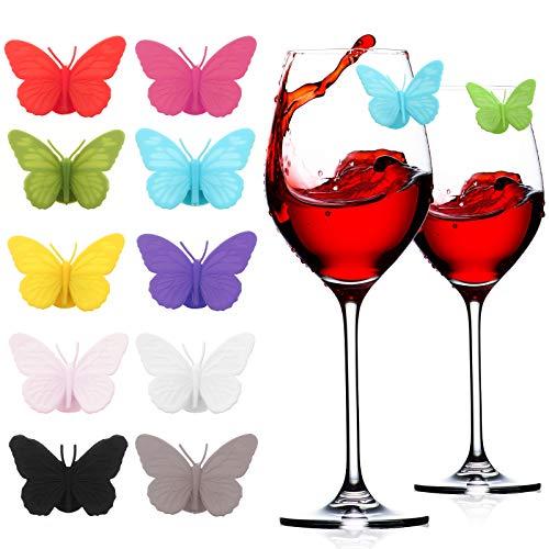 30 Pezzi Charms in Vetro Colorato con Farfalla in Silicone Etichette di Fascino del Vino con Set Segnabicchieri da Vino a Ventosa per Tazza di Vetro Vino Champagne Cocktail Festa