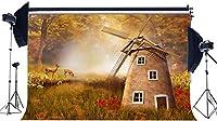 HDビニール10x7ftオランダ風車の背景おとぎ話ジャングルの森の背景灯台川緑の草の牧草地ファンタジー写真の背景女の子のための王女の誕生日の写真スタジオの小道具389