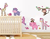 Pink girly animals wall sticker by Stickmi