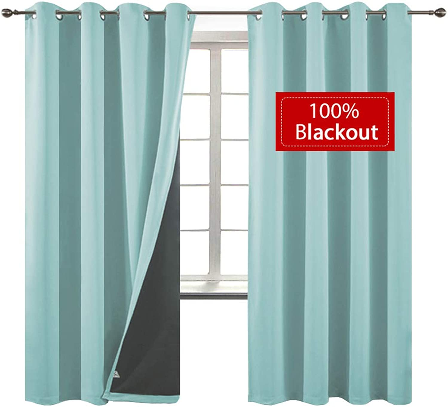 Yakamok 100% Blackout Lined Pair Curtains, Window Treatment Thermal Insulated Soundproof Drapes for Bedroom(52Wx84L, Aqua, 2 Panels)