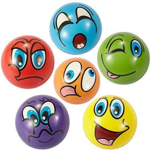 ZYDTRIP Emoji Squishy Spielzeugball, 6 Stück Stressabbaukugel Anti-Stress-Spielzeugkugeln für Kinder und Erwachsene (6 Stück Emoji Squishy Ball-bunt)
