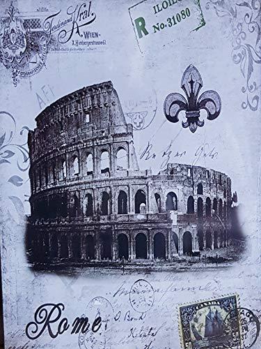 MR Tableau en bois vintage Ville de Rome, 24 x 18