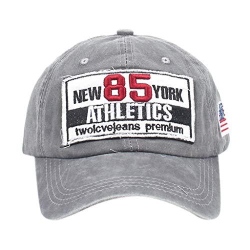 LOPILY Gorras Beisbol Deportes Adjustable al Aire Libre Cap clásico algodón Sombrero Motocicleta Gorra de Verano Bordada Sombreros de Malla para Hombres Mujeres Retro Estilo Sombrero de Sol (Gris)