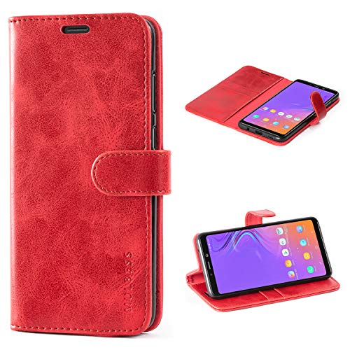 Mulbess Galaxy A9 2018 Protective Cover, Magnetic Closure RFID Blocking Luxury Flip Folio Leather Wallet Phone Case with Card Slots and Kickstand for Samsung Galaxy A9 2018, Wine Red