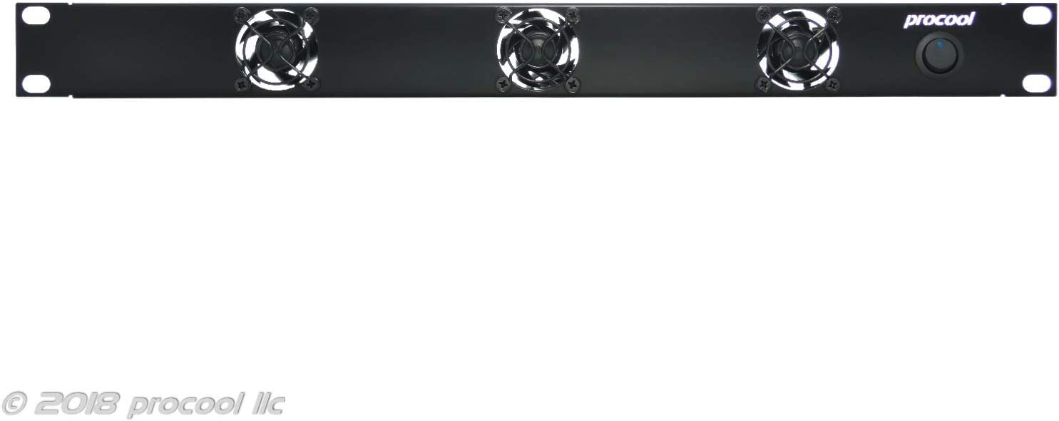 PROCOOL SX340 / 1U Silent Rack Mount Fan/Airflow = INTAKE/Home Theater AV Cabinet Cooling Broadcast Network Server Recording Studio Rack Mount Fan Panel 19