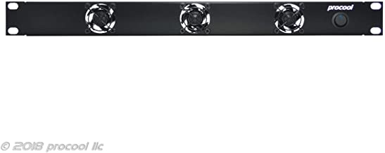 PROCOOL SX340E / 1U Silent Rack Mount Fan/Airflow = EXHAUST/Home Theater AV Cabinet Cooling Broadcast Network Server Recording Studio Rack Mount Fan Panel 19""