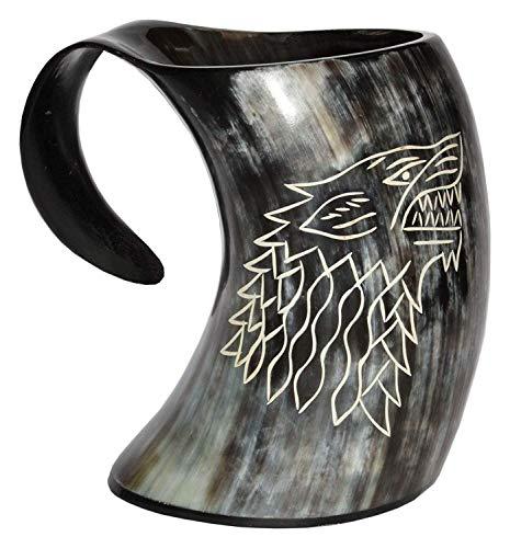 Asmara Vichinghi nautici Valhalla's Game of thrones Stark house viking bere corno tazza lupo intagliato boccale per birra vino idromele ale