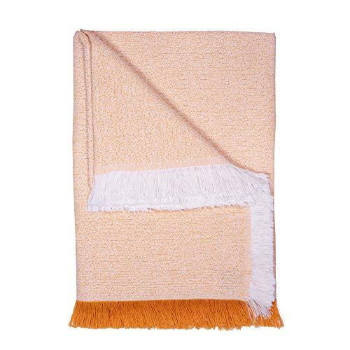 Basic Home Plaid/Foulard Multiusos - Cubre Cama - Sofa - Manta algodón Suave 230x270 cm Amarillo