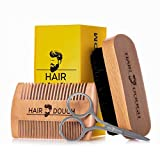 Hair Dough Beard Brush & Comb Grooming Kit For Men | Set Includes Soft Boar Bristle Brush, Bamboo Wide Tooth Comb, and Mustache Trimming Scissors | Straighten & Soften Your Beard