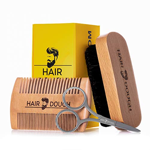 Hair Dough Beard Brush & Comb Grooming Kit For Men   Set Includes Soft Boar Bristle Brush, Bamboo Wide Tooth Comb, and Mustache Trimming Scissors   Straighten & Soften Your Beard