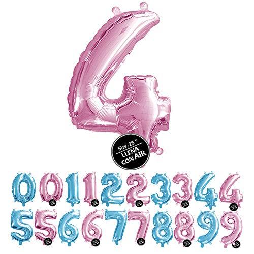 Haioo Globo Número de Cumpleaños en Metalizado Ideal para Fiesta de cumpleaños y Aniversarios Hinchable y Deshinchable (Rosa 4)