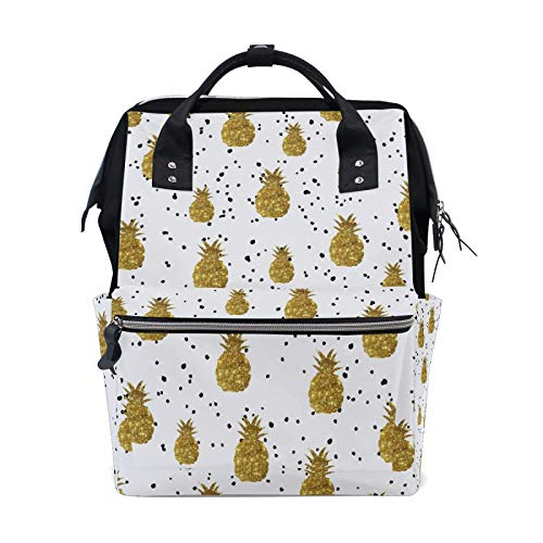 Gold Pineapple Diaper Bag Backpack, 15.6-inch Stylish Laptop Backpack, Water Resistant Casual Daypack, for Mother and Business Partner