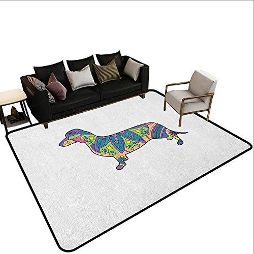 MsShe Slaapkamer woonkamer beschermingsmat Dachshund,Abstract Canine Cartoon Design Dachshund Puppy in Gestreept Shirt Grappig Karakter, Multi kleuren