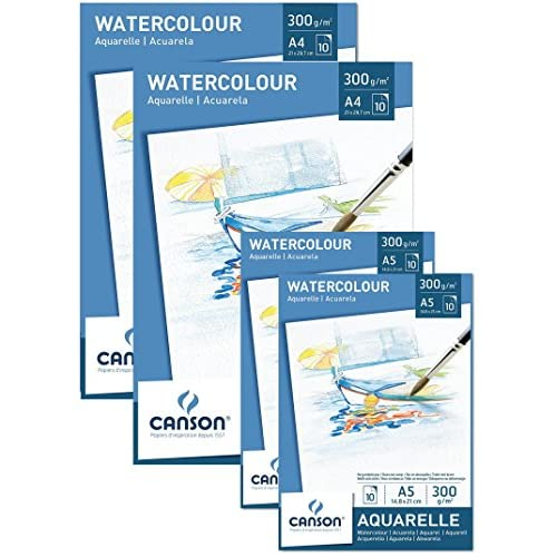 Canson Value Pack 2x Pad A4+ 2x Notepad A5Watercolour Paper 300g/m² 10Sheets Acid Free White Paper With High Quality For Watercolour Art + Free Mixing Palette