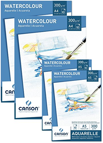 Canson Value Pack 2x Pad A4 + 2x Notepad A5 Watercolour Paper 300g/m² 10 Sheets Acid Free White Paper With High Quality For Watercolour Art + Free Mixing Palette