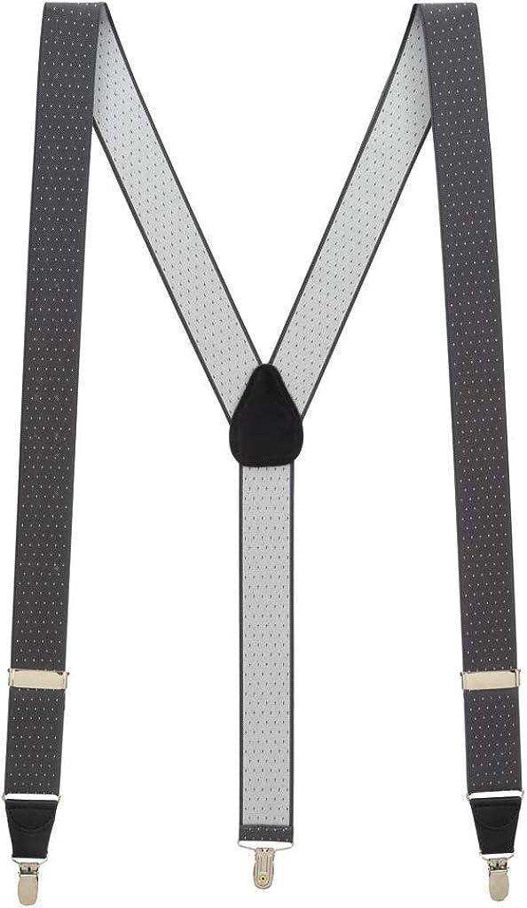 SuspenderStore Men's Grey Woven Pin Dot Suspenders - CLIP