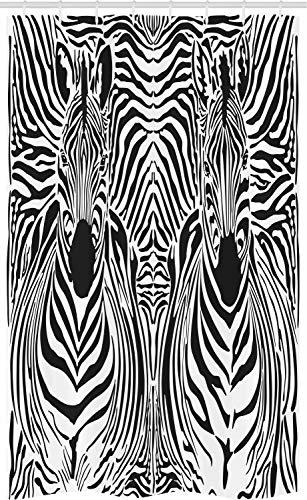 ABAKUHAUS Gestreepte Douchegordijn, Safari Zebra Stripe, voor Douchecabine Stoffen Badkamer Decoratie Set met Ophangringen, 120 x 180 cm, Zwart wit