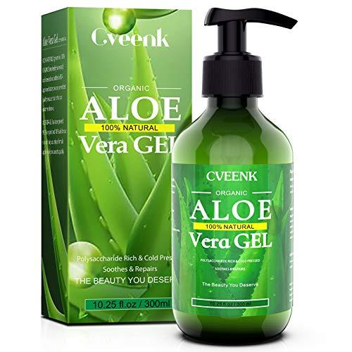 Aloe Vera Gel 300ml CVEENK Bio Aloe Vera Creme für Trockene Strapazierte Haut & Sonnenbrand, After Sun Aloe Vera Natürliche Feuchtigkeitspflege Aloe Lotion für Gesicht Haare und Körper