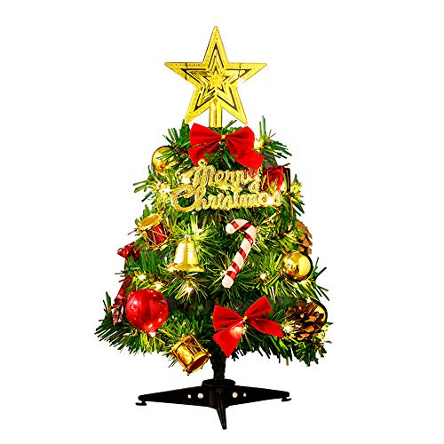 Tabletop Christmas Tree Artificial Xmas Trees and 2M/2.18 Yard Wire String Lights Mini Ornaments Miniature Desk Trees Plastic Winter DIY Crafts Mini Pine Tree for Christmas Holiday Party Home Decor