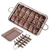 Blkthun, set di separatori Brownie Pan, utensili da cottura antiaderenti in acciaio al carbonio con 18 tagli, piastra di cottura al forno, 30 x 20 x 5 cm