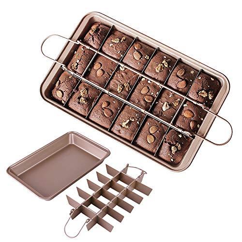 Brownie Pan Trennwände, Blkthun, Antihaft-Kochgeschirr aus Karbonstahl, mit 18 Vorgeschnittenen, Backblech, 30 x 20 x 5 cm