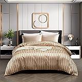 RevenRella 3 Piece Satin Duvet Cover Set Bedding Sets Italian Style 1800 Series Luxury Rich Silk Silky Super Soft Stripes Hidden Zipper Closure Reversible Wrinkle Free Honeymoon(Taupe, Queen)
