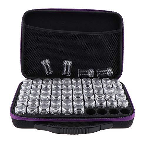 Tubayia Lot de 60 bouteilles d'échantillon d'huile essentielle - 10 ml - Boîte de rangement pour cosmétiques, vernis à ongles (violet)