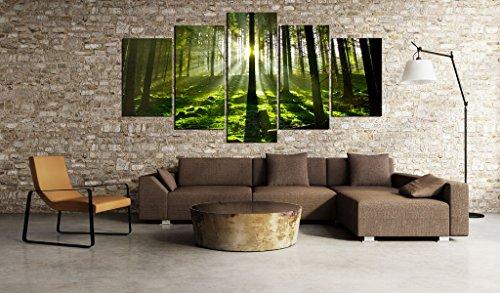SENSATIONSPREIS ! Bilder 200×100 cm – Wasserfester Leinwanddruck ! XXL Format – Fertig Aufgespannt TOP Vlies Leinwand Wandbild 5 Teilig Landschaft Wald 030213-32 200×100 cm B&D XXL - 8