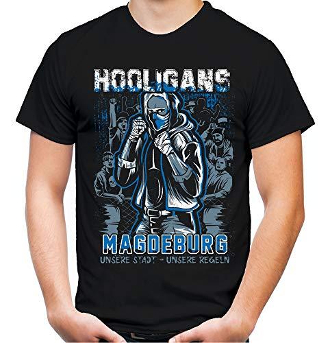 Hooligans Magdeburg Männer und Herren T-Shirt | Fussball Ultras Osten Fan (3XL, Schwarz)