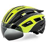 FUNWICT Casco Bici per Uomo Donna Casco Bici da Corsa con Luce LED Occhiali Magnetici Staccabili Visiera...