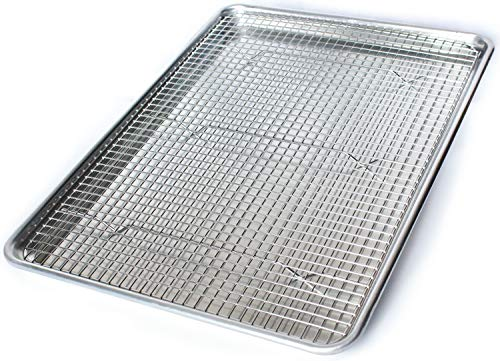 Commercial Quality Aluminum Baking Pan and Stainless Steel Cooling Wire Rack - Half Sheet Tray 18' x 13' - Rust & Warp Resistant, Heavy Duty & Thick Gauge - Delivers An Evenly Baked Cookie