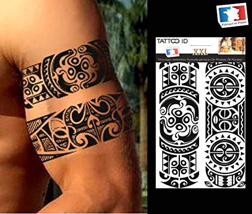 Tattoo ID XXL Polynesien Tribal Maori Temporäres Tattoo Hypoallergen Hergestellt in Frankreich 1Bogen 22cm x 14,5cm Herren