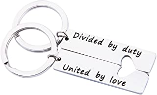 Military Matching Set Divided by Duty United by Love Heart Keychains Military Wife Girlfriend Deployment Going Away Gift