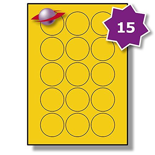 15 Pro Blatt, 10 Blätter, 150 Etiketten. Label Planet® Runden Farbige Matte Gelb Papieretiketten für Tinktenstrahl und Laserdrucker 51mm Durchmesser, LP15/51 R CY.