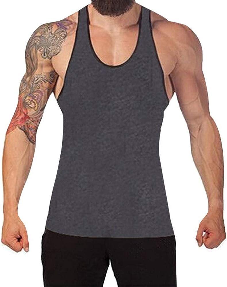 F_Gotal Men's Solid Sleeveless Tank Top Casual Sport Gym Vest Shirt Training Bodybuilding Stringer Fitness Vest T Shirts