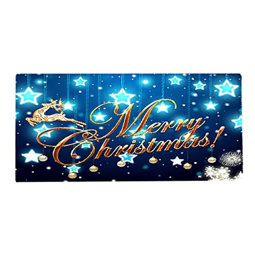 Fenteer Schmutzfangläufer waschbar Schmutzfangmatte Fußmatte Bodenmatte für Innen und Außen mit Weihnachtsmotiv - G