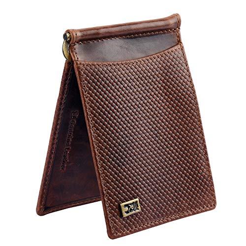 Rolando Brown Ranav Original Indian Brand Real Full Grain Handcrafted & Printed Bi-Fold Money-Clip RFID Card Slots Slide Pockets Currency Clipper Slim Men Leather Wallet