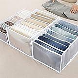 LPOQW Cajón organizador de cajones con compartimentos para pantalones vaqueros, armario, cajón, separación de malla, cajón apilable, pantalones vaqueros, 7 rejillas