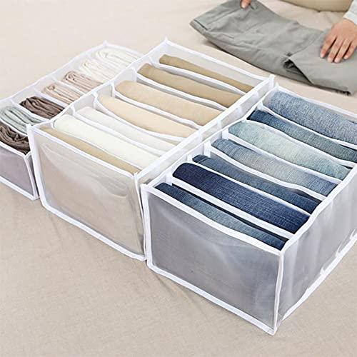 LPOQW Cajón organizador de cajones con compartimentos para jeans, armario, ropa, cajón, caja de separación de malla, cajón apilable, pantalones vaqueros blancos, 7 rejilla