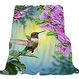 Fantasy Star Super Warm Flannel Fleece Blanket- Purple Flowers Attracting Hummingbirds Soft Lightweight Plush Blanket Luxurious Fuzzy Reversible Blanket 49' x 59'
