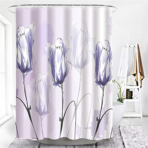 XCBN Tela Impermeable Cortina de Ducha de baño melocotón crisantemo decoración de baño Cortina de Ducha Cortina de Ducha A30 150x180cm