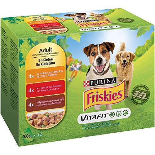 Friskies Purina Friskies Adulto con Pollo, Cordero y Buey Engelatina 12x100 g, 1200 g