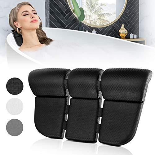 Essort Almohada de baño impermeable con 3 potentes ventosas de silicona EVA suave de lujo cojín de bañera almohada Relux soporte de cabeza de baño para mujer negro