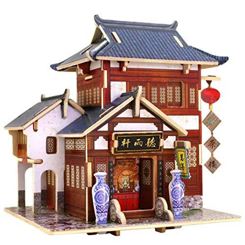 WFTD 3D-Holz Puzzle-DIY Miniatur Architekturmodell Zu Hause Kreativen Schmuck Holzspielzeug Handwerk, Thanksgiving Weihnachts-Geburtstagsgeschenk (Chinesischer Stil)