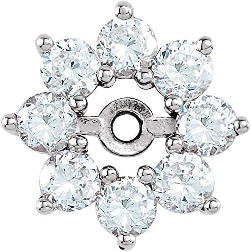14K White Gold 3/4 CTW Diamond Earring Jackets Halo-Style Earring Jackets