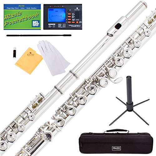 Mendini Nickel Silver Closed Hole C Flute with Tuner, Stand, 1 Year Warranty, Case, Cleaning Rod, Cloth, Joint Grease, and Gloves - MFE-N+SD+PB+92D