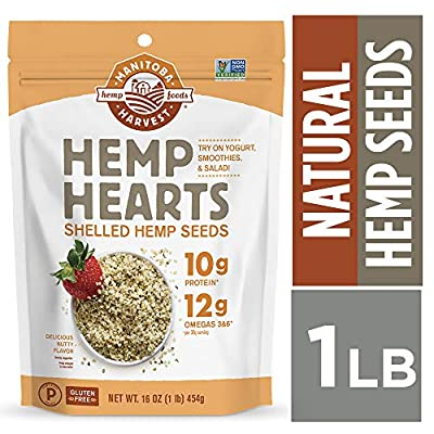Manitoba Harvest Hemp Hearts Raw Shelled Hemp Seeds, 1lb; with 10g Protein & 12g Omegas per Serving, Non-GMO, Gluten Free - Packaging May Vary by Manitoba Harvest