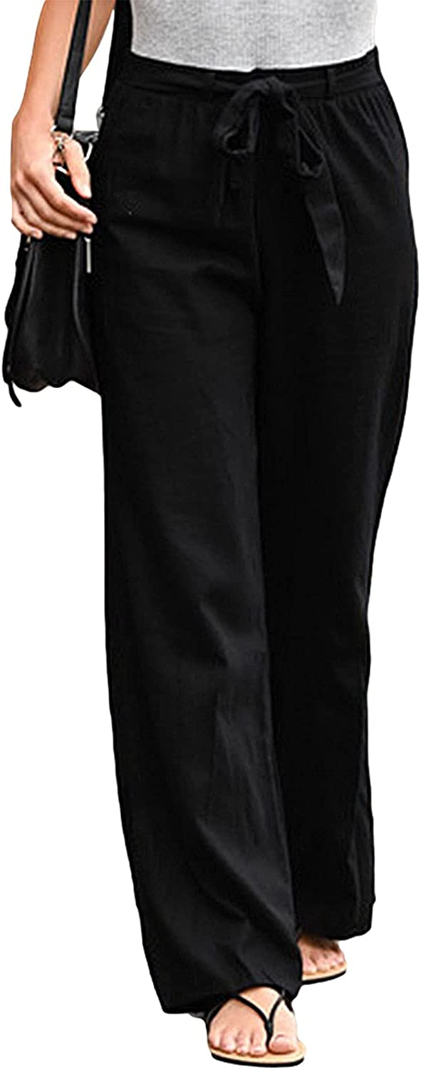 Women Straight Dress Pants High Waisted Drawstring Cotton Linen Pants Pockets Business Casual Trousers